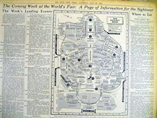 BEST 1939 NY Times newspaper Detailed MAP of the 1939-1940 NEW YORK WORLD'S FAIR