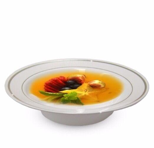 150 CT 12 oz (environ 340.19 g) bols à soupe Masterpiece Style Blanc-Argent Rim Jetable Plastique