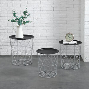 metallkorb beistelltisch couchtisch sofatisch 3er set deko silber ebay. Black Bedroom Furniture Sets. Home Design Ideas