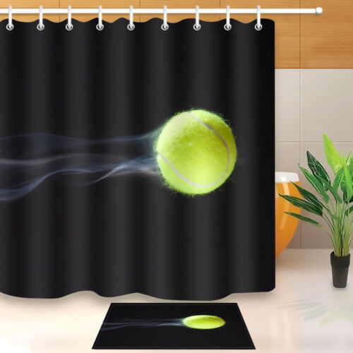 Flying Tennis Decor Bathroom Waterproof Fabric Bath Shower Curtain Hooks Mat Set