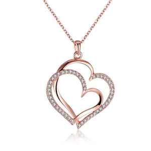 18K-Rose-Gold-Plated-Austria-Crystal-Double-Heart-Pendant-Necklace-For-Women