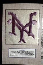 """Willabee Ward 1913 New York Giants Violet """"NY"""" Patch Only"""