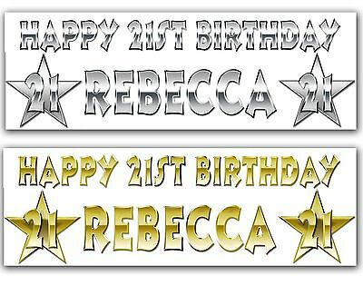 2x Personalised NAME & AGE Party Banner Birthday Gold Silver text Effect banners