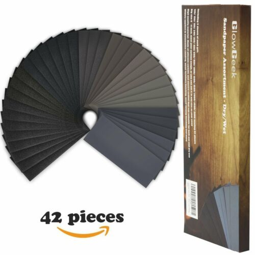 Dry//Wet GlowGeek 120 to 3000 Grit Sandpaper Assortment 9 x 3.6 Inch 42 Pieces