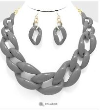 Acrylic Gray Big Curb Link Chain Chunky Necklace Set Earring