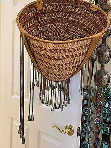 Vintage-Apache-Burden-Basket-1973-purchase-17-034-w-15-034-sides-Leather-rim-hm-con