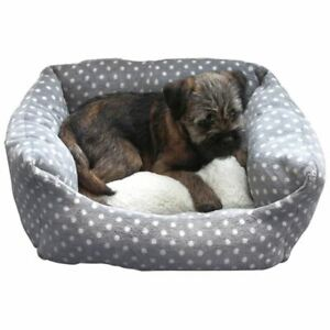 Rosewood-40-Winks-Dog-Or-Cat-Bed-Small-Grey-Cream-Spot