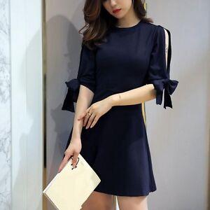 Caricamento dell immagine in corso Elegante-raffinato-vestito-abito -donna-tubino-scampanato-blu- 57905ae1349