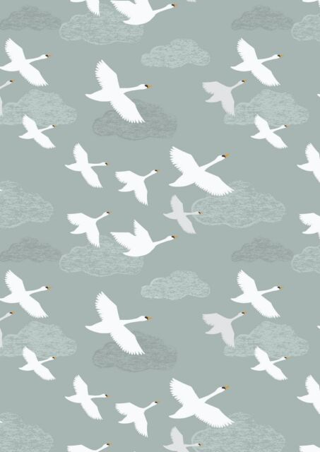 Down By The River Pale Grey Swans in Flight Cotton Quilting Sewing Fabric