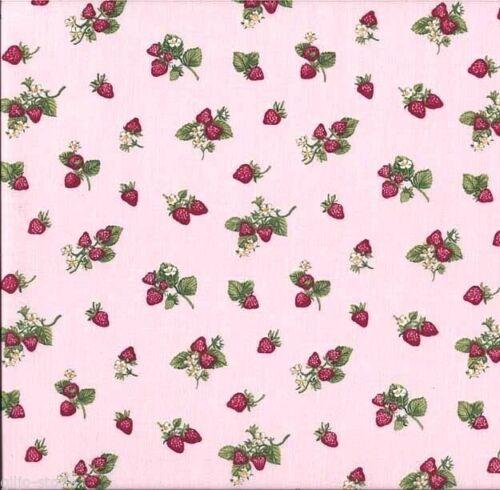 Tissu patchwork Makower Strawberry Pink COTONNADES substances fraises Patchwork