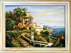 Painting-Oil-Picture-Frame-Shore-Sea-Canvas-G02272