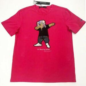 Men-Hudson-100-authentic-size-large-Lil-Bear-Design-Dab-T-shirt-red