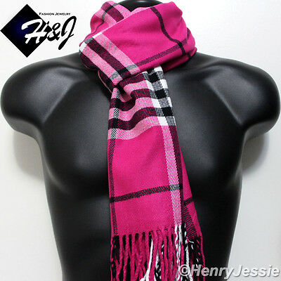 WOMEN Hot Pink Black White Large Stripe Plaid Cashmere Feel Scarf*100/%Acrylic