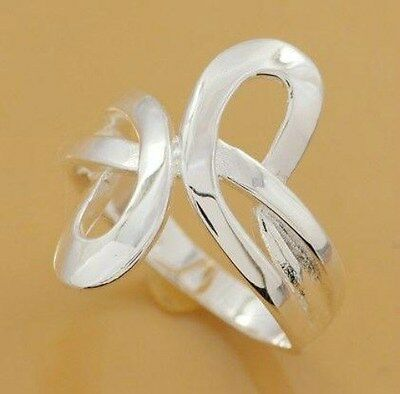 "Sterling Silver Plated Free Style Figure Eight Design Ring 1"" Long Size 6"