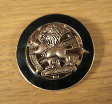 Vintage Lion Pin Brooch Black Enamel Heraldic Old Royalty Gold Tone Medieval