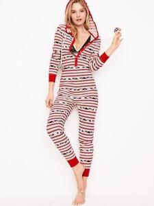 Victoria s Secret red Nordic Long Jane thermal pajama L fair isle ... 3e050ef9a