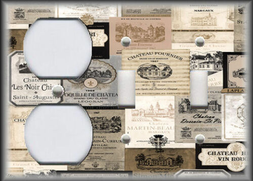 Vintage Wine Labels Black And Tan Kitchen Decor Metal Light Switch Plate Cover