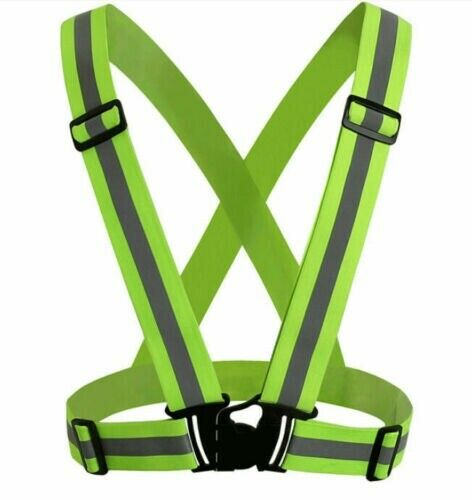 Green Adjustable Safety Security High Visibility Reflective Vest Night Running