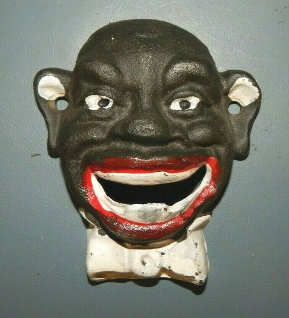 BLACK MAN w RED LIPS /& BOW TIE Cast Iron Wall Mount Bottle Opener