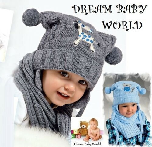 BABY BOYS KIDS KNITTED warm winter set hat with scarf size 6-18 months NEW