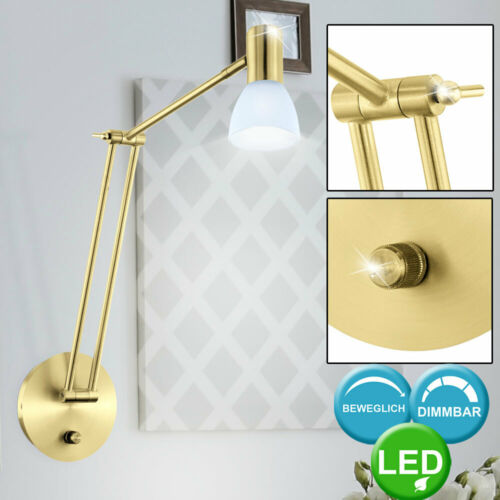 LED Design Wand Leuchte Glas Spot Strahler verstellbar Dimmer Lese Lampe messing