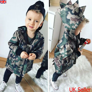 e33cbd289f9f4 Details about UK Infant Kids Baby Boys Camouflage Hoodies Dinosaur Zip  Hooded Jacket Coat Tops