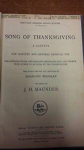 Amical Maunder: Chanson De Thanksgiving: Musique Vocale Score-afficher Le Titre D'origine