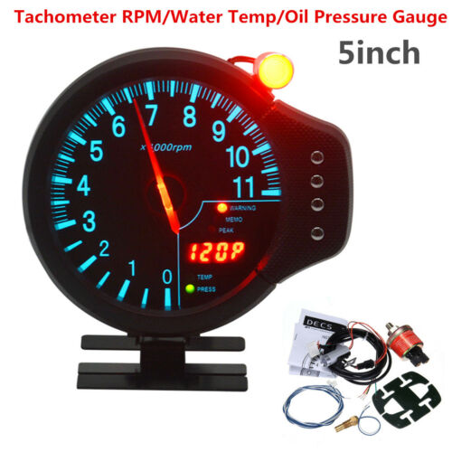 "5/"" 3in1 Car Meter Tachometer RPM Water Temp Oil Pressure Gauge w// Warning Light"