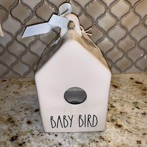 "New White Rae Dunn Square ""Baby Bird"" Birdhouse With Two Birds Icon"