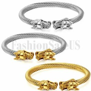 Mens-Gold-Silver-Tone-Dragon-Stainless-Steel-Twisted-Cable-Bangle-Bracelet-Cuff
