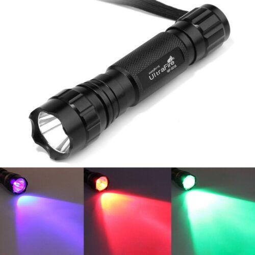 Ultrafire 501B Blue Red Green UV White Light LED Flashlight CREE T6 Torch 18650