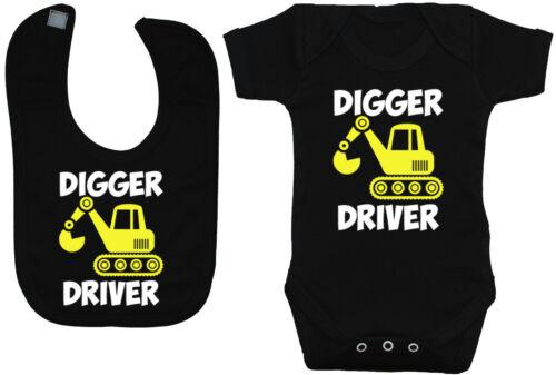 Details about  /Digger Driver Baby Grow//Romper /& Feeding Bib 0-24m Boy Girl Gift Builder
