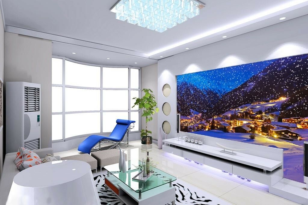3D Snow Lights Town 663 Wall Paper Wall Print Decal Wall Deco Indoor Mural Lemon