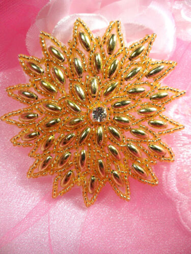 XR33 Snowflake Star Applique Gold Beaded Sewing Patch  3.25/""