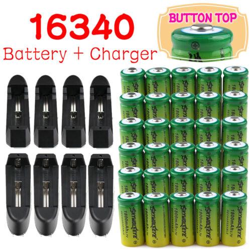 30x Skywolfeye 3.7V 16340 Batteries 1800Mah Rechargeable Battery Bat+Charger Lot