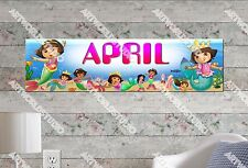 Personalized/Customized Dora Mermaids Name Poster Wall Art Decoration Banner