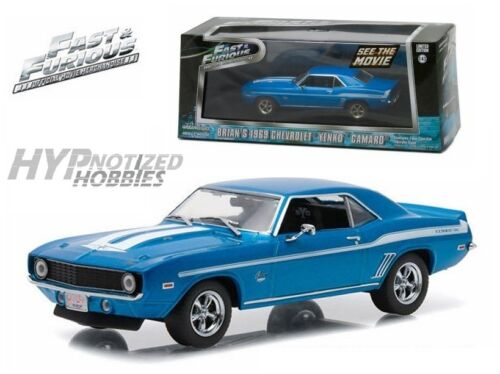 Greenlight 1:43 Fast /& Furious Brians 1969 Chevrolet Yenko Camaro Bleu 86206