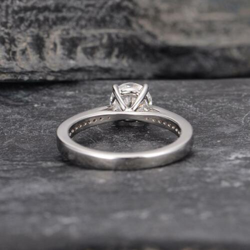 Details about  /1.00 Ct Round Cut White Moissanite Solitaire Engagement Ring 14K White Gold Over