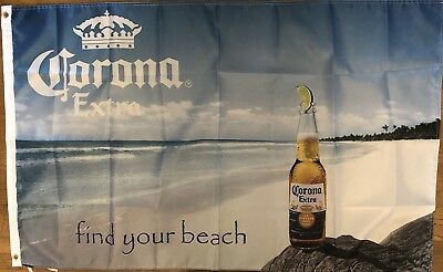 Corona Find Your Beach Flag 3x5 Beer Banner Bar Man Cave ...