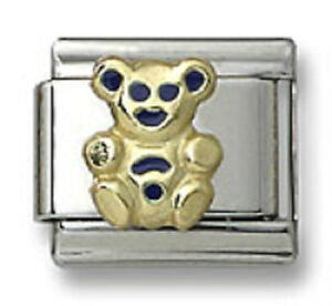 18k-Gold-Italian-Charm-Blue-Enamel-Teddy-Bear-9mm-Modular-Link-Silver-Bracelet
