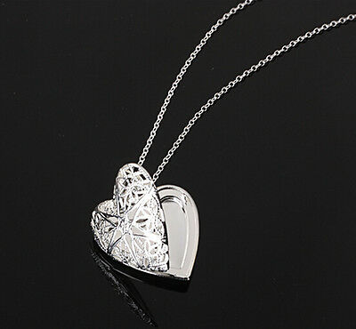women fashion Silver Heart lover locket chain necklace pendant valentine Gift