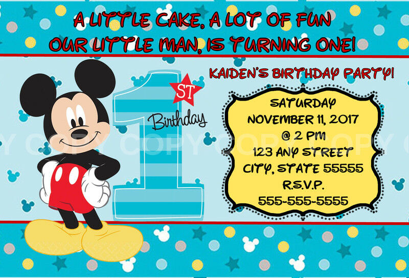 Disney Mickey Mouse 1st Birthday Invitations