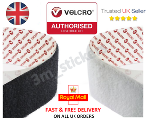 VELCRO® BRAND 20mm BLACK SELF ADHESIVE HOOK /& LOOP STICKY BACK TAPE PS14