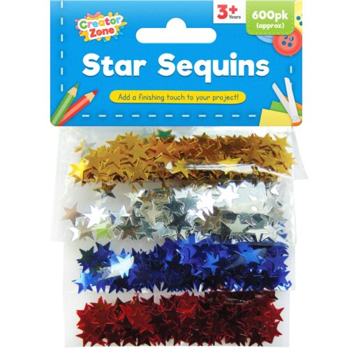 600pc Star Paillettes Art Craft Rouge Argent Or Bleu Embellissements Carte Hobby