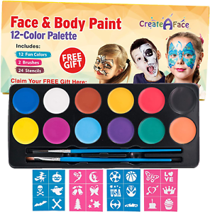 Face Paint Kit For Kids Fun At Home Activity 12 Colors 24 Stencils 2 Brushes Ebay