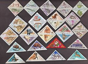Lot-50pcs-All-Different-World-wide-Used-CTO-Off-Paper-Triangle-stamps