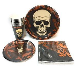 Skull-Spider-Spiderweb-Party-Pack-Dinner-Plates-Lunch-Napkins-Cups-Copper-Foil