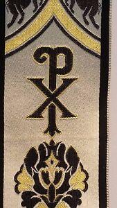 Vintage-Religioso-Diseno-Negro-Chi-Rho-Banda-Vestment-Seda-8-3cm