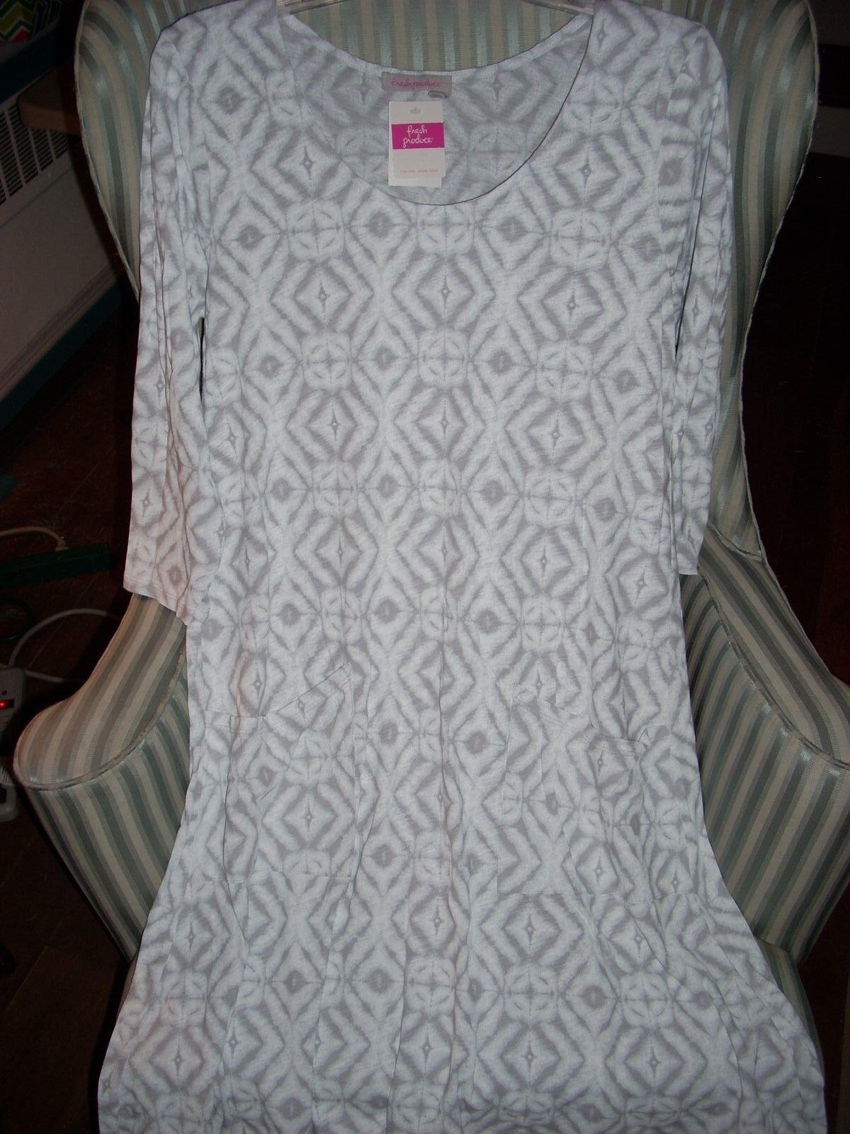 NWT FRESH PRODUCE100% COTTON  SHIBORI  DESIGN  DALIA DRESS ON VAPOR. (M)