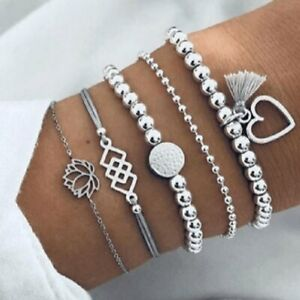 Fashion-Silver-Beaded-Bracelet-Hollow-Heart-Lotus-Charms-Chain-Bangle-Jewellery